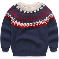 Vintage Graphic Knit Sweater for Boys