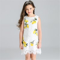 Sweet Lemon Pattern Lace Sleeveless Dress for Toddler Girl/Girl
