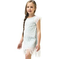 Boho Style Lace Straight Short Sleeve Dress in White for Toddler Girl and Girls