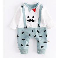 Cool Moustache Print Faux-2 Jumpsuit for Babies