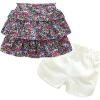 2-piece Floral Strapless Top and Shorts Set for Girls
