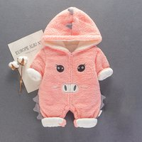 Cuddly Hooded Pig Print Zip-up Long-sleeve Jumpsuit for Baby