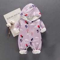 Cute Cartoon Print Hooded Long-sleeve Jumpsuit for Baby