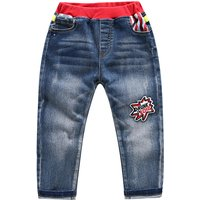 Bright Red Waistband Colorful Pocket Jeans for Toddler Girl/Girl