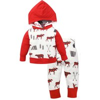 Bright Reindeer Print Hooded Long-sleeve Top and Pants Set for Baby