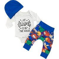 Snappy 3-piece Letter Print Long-sleeve Bodysuit, Colorful Pants and Hat Set for Baby Boy