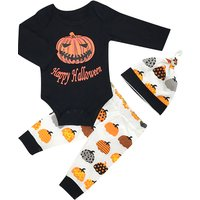 3-piece Halloween Letter Print Long-sleeve Bodysuit, Patterned Pants and Hat Set for Baby