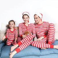 Red and Grey Striped Family Comfy Pajamas