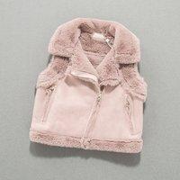 Baby Girl's Solid Fleece-lined Suede Vest