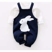 2-piece Long Sleeve Top and Bunny Suspender Pants Set for Baby