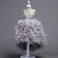 Girl's Pretty Ruffles Embroidered Sleeveless Party Dress