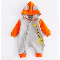 Lovely Giraffe Color-block Hooded Jumpsuit for Baby