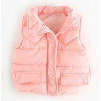 Baby Girl's Solid Puffer Zip-up Vest