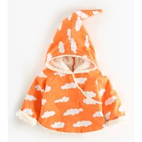 Lovely Cloud Print Hooded Coat for Baby