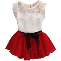 2-piece Lace Sleeve Top and Pleats Skirt Set for Baby Girls