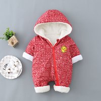 Baby's Cute Emoji Fleece-lined Jumpsuit in Red