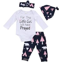 Lovely 4-piece Letter Print Bodysuit, Patterned Pants, Hat and Headband for Baby Girl