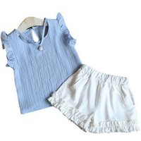 2-piece Ruffles Sleeveless Top and Shorts Set for Baby Girls