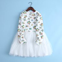 Beautiful Floral Long-sleeve Mesh-layered Dress for Baby and Toddler Girls