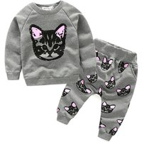 Lovely Cat Print Raglan Long-sleeve Top and Pants Set for Baby and Toddler Girl