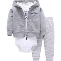 3-piece White Bodysuit Coat and Pants Set for Baby