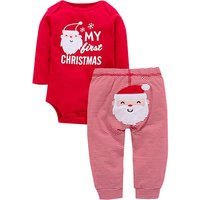 2-piece 'MY FIRST CHRISTMAS' Long Sleeve Bodysuit and Stripes Pants Set in Red for Baby and Newborn