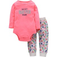 2-piece Sweet  Long Sleeve Bodysuit and Floral Leggings Set for Baby Girls