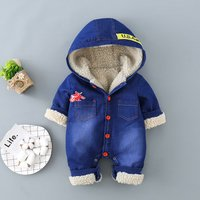 Lovely Cat Print Fleece Lining Denim One Piece for Baby