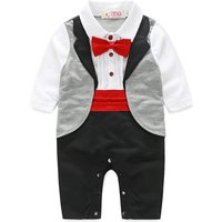 Handsome Bow Tie Stand Collar Long-sleeve Jumpsuit for Baby