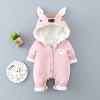 Cuddly Rabbit Design Hooded Long-sleeve Jumpsuit in Pink for Baby Girl