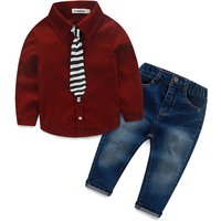 2-piece Handsome Solid T-shirt and Jeans Set for Baby and Toddler Boys
