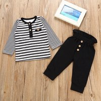 2-piece Casual Stripes Long Sleeve Top and Pants Set for Baby Boys