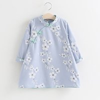 Vintage Chinese Style Cheongsam Embroidered Long-sleeve Dress for Baby and Toddler Girl