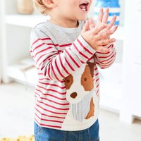 Lovely Dog Print Long-sleeve Stripes Top for Baby and Toddler
