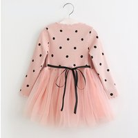 Baby and Toddler Girl's Beautiful Dotted Long Sleeve Mesh Dress in Pink