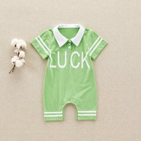 """Cool """"LUCK"""" Print Short-sleeve Romper for Baby"""