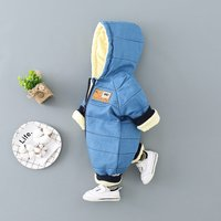 Cool Graphic Print Hooded Zip-up Jumpsuit for Babies