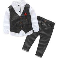 Fashionable Vest Shirt and Pants Set for Boys
