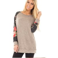 Women Color-blocking Floral Sleeve Pullover in Grey