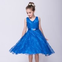 Gorgeous Sleeveless Lace Dress with Waistband for Girls