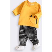 Cute Long-sleeve Top and Striped Pants Set for Baby