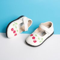 Beautiful Flower Accent Velcro Shoes for Toddler Girls
