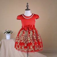 Girl's Elegant Bow-accented Embroidered Cap-sleeve Party Dress in Red
