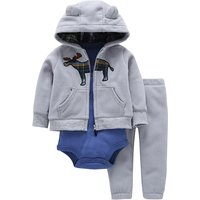 3-piece Long Sleeve Bodysuit, Deer Patterned Hooded Jacket and Pants Set for Baby Boys