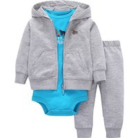 3-piece Lovely Bear Long Sleeve Bodysuit, Hooded Jacket and Pants Set in Grey for Baby Boys