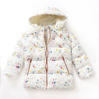 Beautiful Floral Hooded Cotton Zip-up Coat for Baby and Toddler Girls