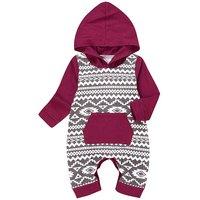 Cute Geo Pattern Hooded Long-sleeve Jumpsuit for Baby