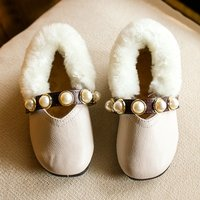 Baby and Toddler Girl's Pretty Bead Studded Fleece Shoes