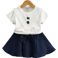 Lovely Short-sleeve Tassel Top and Bow Skirt Set for Toddler Girl/Girl