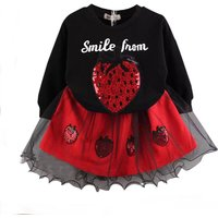 Lovely Strawberry Sequins Top and Lace Dress Set for Baby Girl